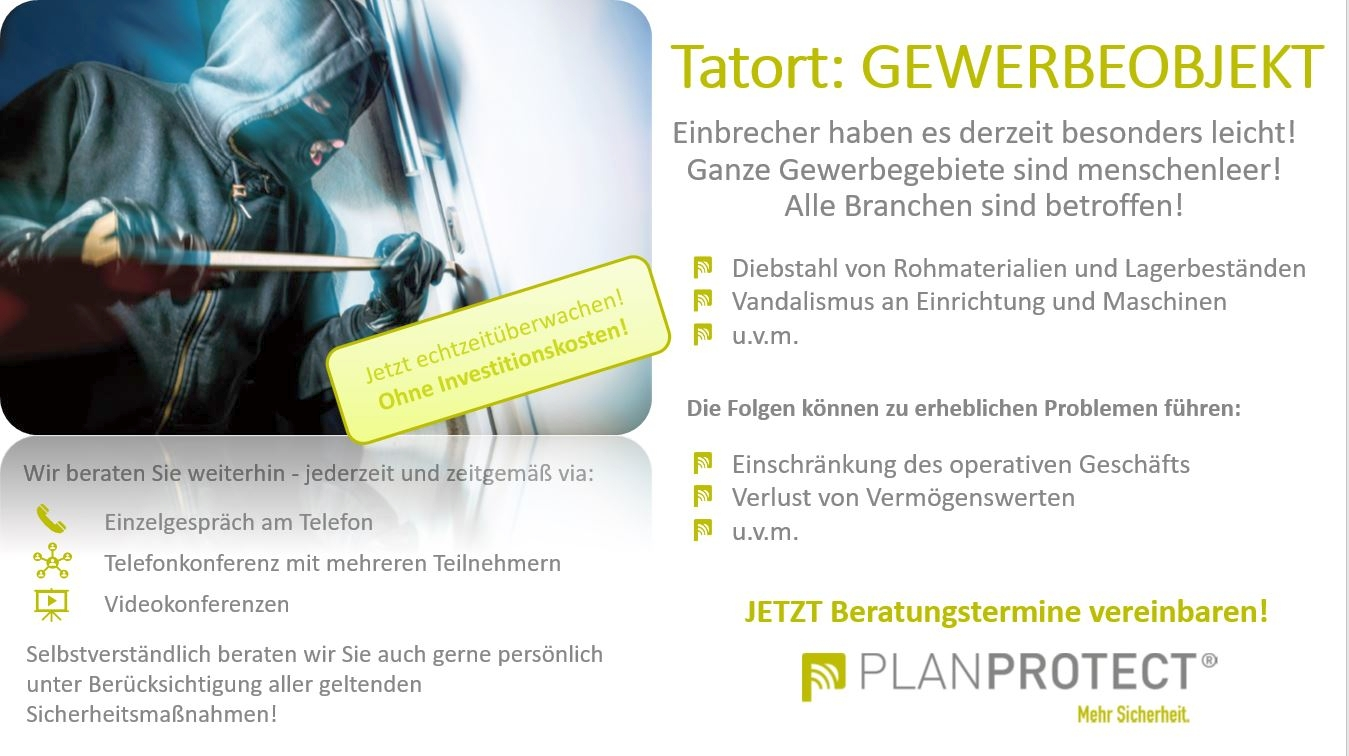 Planprotect AG - Andre Wörmann - Echtzeitüberwachung - Gewerbeobjekt